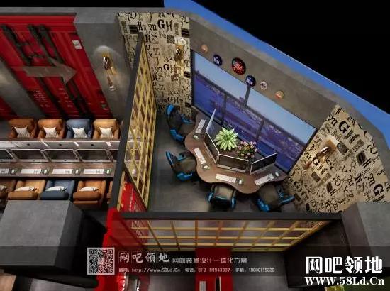 天津某网咖装修设计效果图,工业复古创意空间!