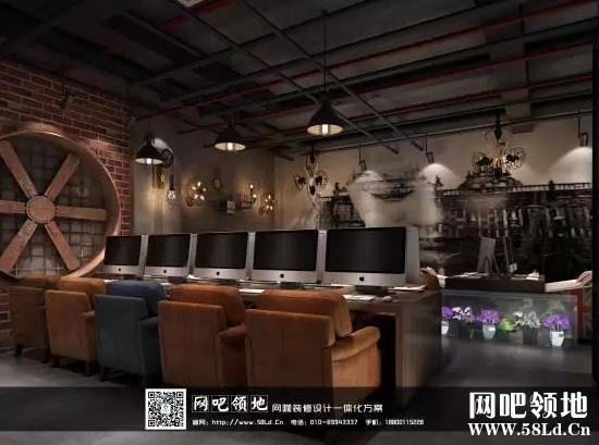 天津某网咖装修设计效果图,工业复古创意空间!_网吧