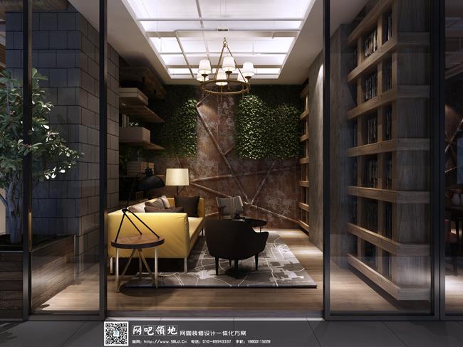 半开放式的设计,书架隔断,这是吧台一侧的休闲区,同样没有采用复杂