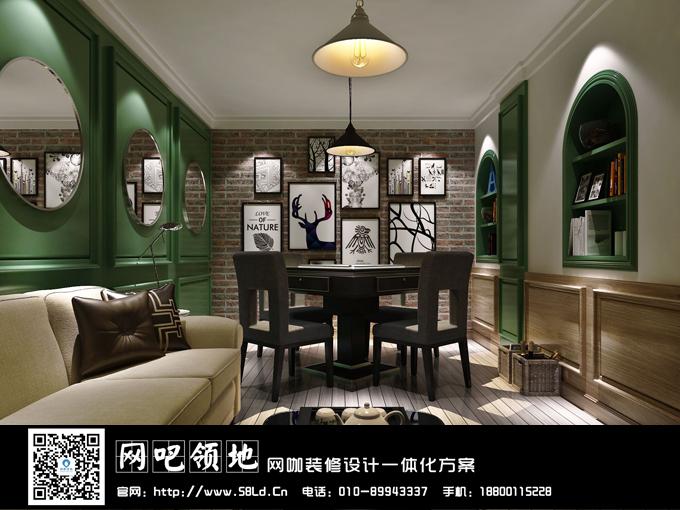 网咖装修设计,网咖效果图,网咖麻将室,北京6号竞游咖